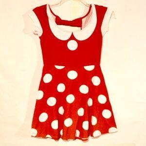 Disney Minnie Mouse Dress Medium Girls Red Orange